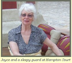 Joyce and a sleepy guard at Hampton Court in London